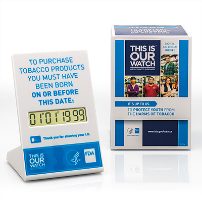 Digital, programmable age verification calendar for retailers to help determine if a customer is old enough to legally purchase tobacco products.