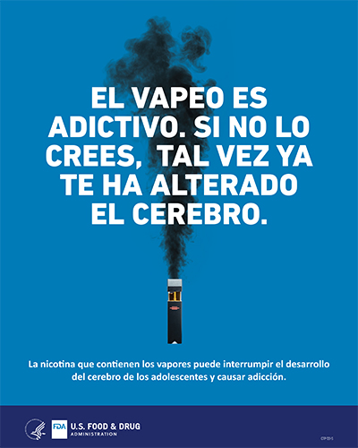 "This poster is designed to educate youth about the potential dangers of e-cigarette use, or ""vaping."""