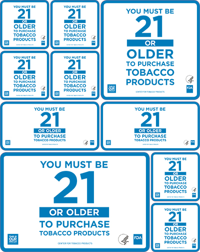 """You Must Be 21"" stickers in various sizes to place in your retail establishment.  Note: Use of ""This Is Our Watch"" materials is voluntary."