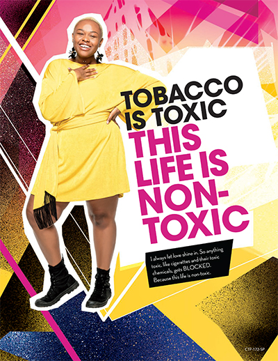A poster that communicates toxic chemicals are in cigarettes.
