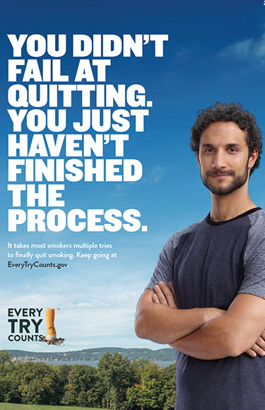 This 24x36 poster informs adult smokers that it takes most smokers multiple tries to finally quit for good.