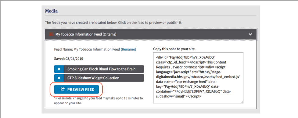Button: Preview Feed in My Web Content Media section