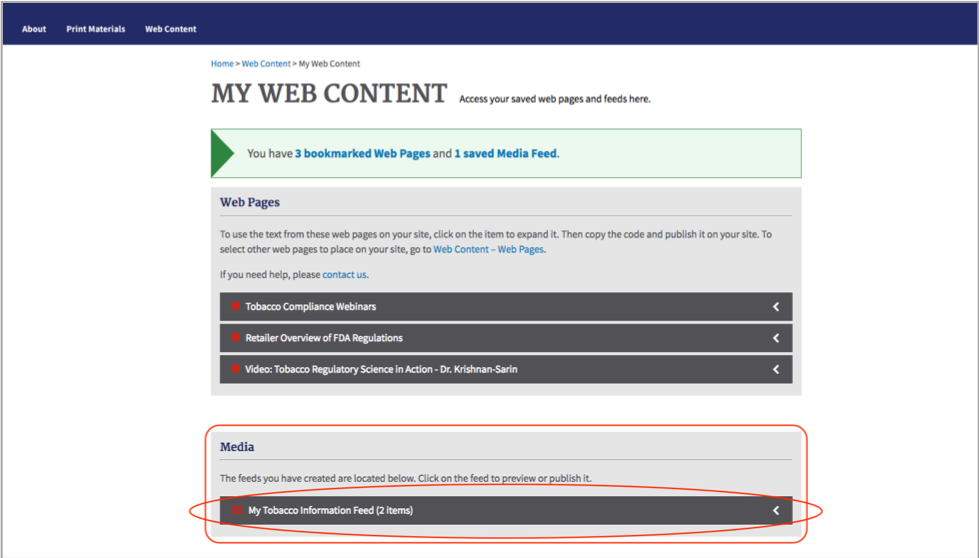 Accordion Control: Media section of My Web Content