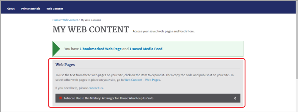 Accordion Control: Web Pages section of My Web Content