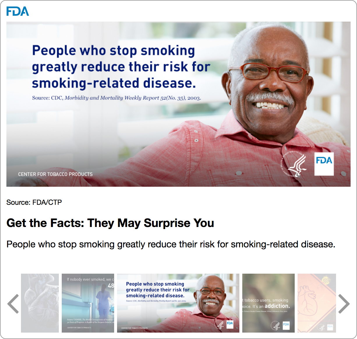 This widget contains five gallery images about the health effects of tobacco use.