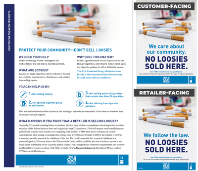 "This 5""x7"" double-sided window sticker informs retailers and their customers about the federal rules prohibiting the sale of single cigarettes known as ""loosies."""