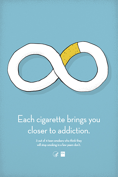 Poster informs about the addictiveness of cigarettes.  Three out of 4 teen smokers who think they will stop smoking in a few years don't.