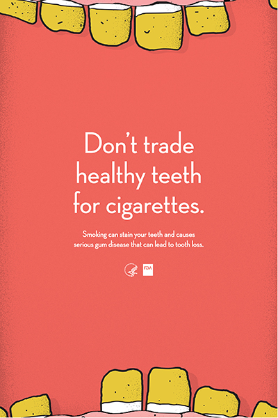 Poster educates on consequences of teeth and gum health from tobacco use.