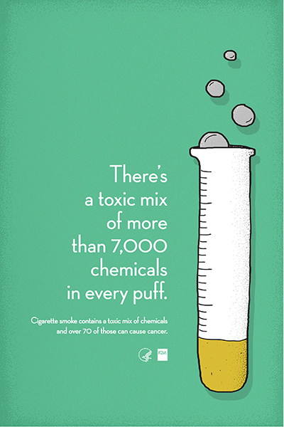 Poster educates that cigarette smoke contains over 7,000 chemicals, and over 70 of those can cause cancer.