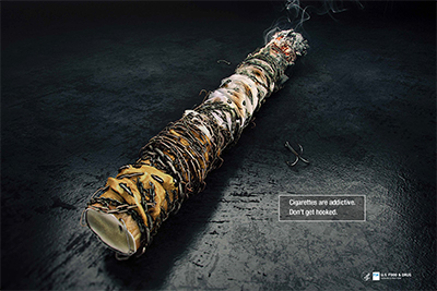 Poster educates on the addictiveness of cigarettes.