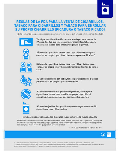 Flyer on the federal rules for cigarettes, cigarettes tobacco, and roll-your-own (RYO) tobacco sales. (SPANISH)