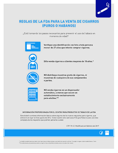 8.5x11 flyer, 1 page, 1 sided, about the FDA's deeming rule regarding Cigar Sales