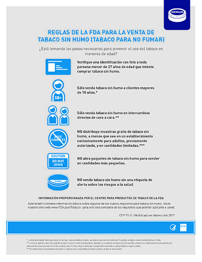 "8.5"" x  11"" flyer on the federal rules for smokeless tobacco sales. (SPANISH)"