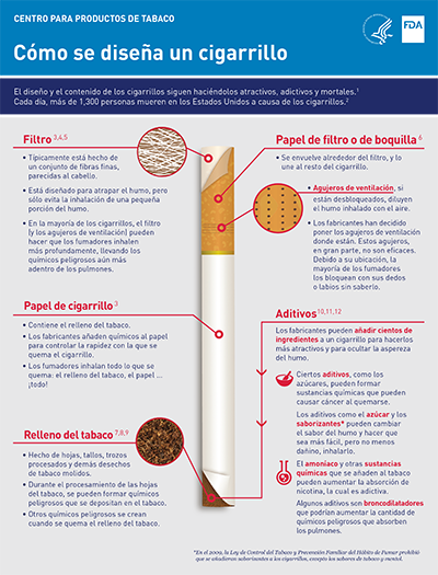 Infographic, in Spanish, 2 pages on how cigarette is created.