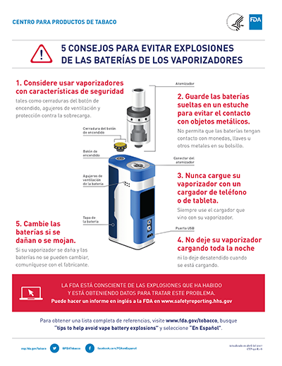 Infographic of tips for e-cigarette battery safety