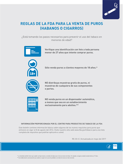 8.5x11 flyer, 1 page, 1 sided, Spanish (US), about the FDA's deeming rule regarding Cigar Sales