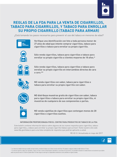 "8.5"" x 11"" flyer on the federal rules for cigarettes, cigarettes tobacco, and roll-your-own (RYO) tobacco sales. (SPANISH)"