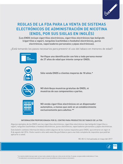 8.5x11 flyer, 1 page, 1 sided, about the FDA's deeming rule regarding Electronic Nicotine Delivery System (ENDS) sales (SPANISH)