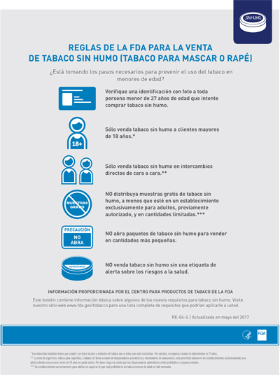 8.5x11 flyer, 1 page, 1 sided,Spanish (US), about the FDA's deeming rule regarding Smokeless Tobacco Sales