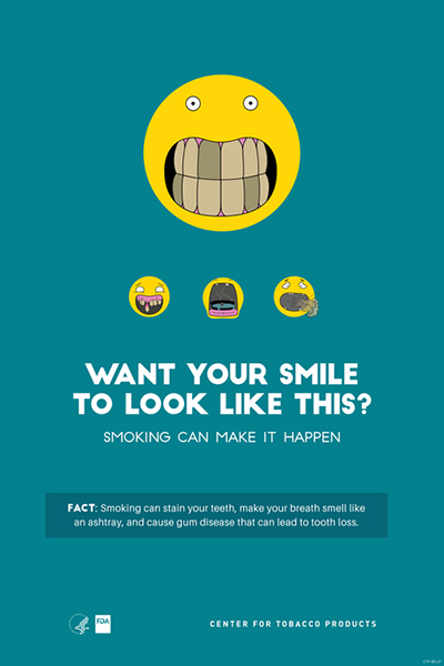 Poster portraying, through the use of emojis, stained teeth as a  health-related consequence of smoking.