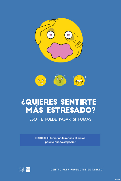 Spanish poster portraying, through the use of emojis, stress as a health-related consequence of smoking