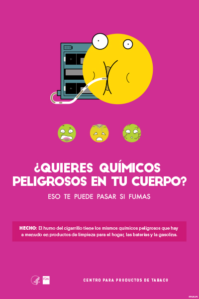 Spanish poster portraying, through the use of emojis, the intake of toxic chemicals as a health-related consequence of smoking.