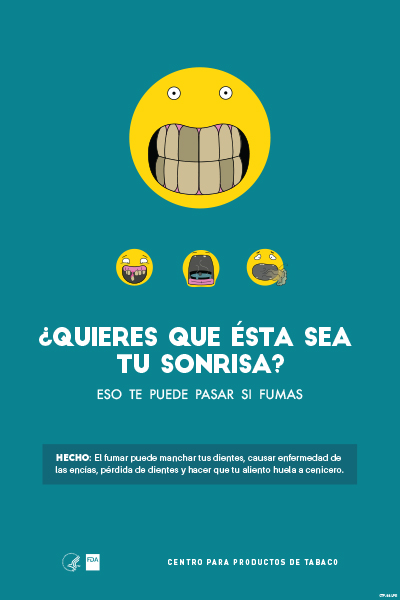 Spanish poster portraying, through the use of emojis, stained teeth as a  health-related consequence of smoking.