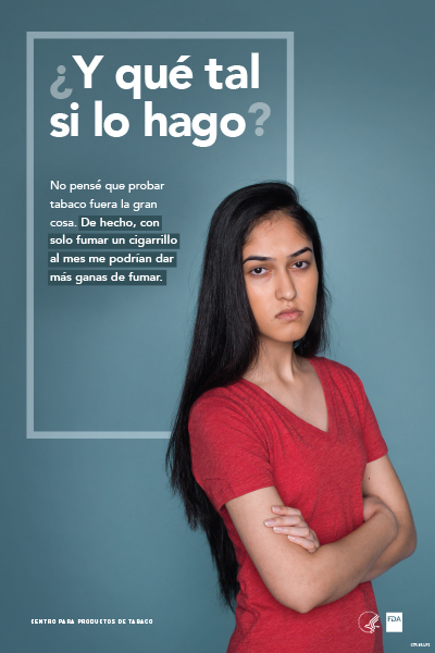 Spanish poster portraying defiant teenage girl challenging the reader and reflecting on her potential tobacco use as it relates to cravings.
