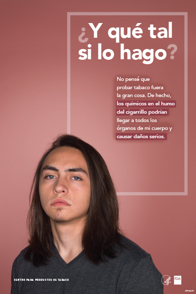 Spanish poster portraying defiant teenage boy challenging the reader and reflecting on his potential tobacco use as it relates to serious organ damage.