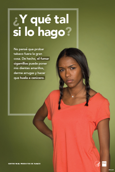 Spanish poster portraying defiant teenage girl challenging the reader and reflecting on her potential tobacco use as it relates to cosmetic health effects.