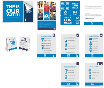 One set of This Is Our Watch materials, including the introductory letter, instruction booklet, regulation flyers, register signage, stickers, and poster. Envelope does not include the age verification flip calendars, which were replaced in 2019 by the This Is Our Watch digital calendar. 