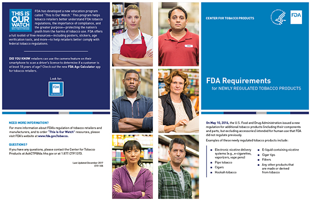 "11"" x 17"" Bifold brochure with listing of federal requirements for tobacco retailers and manufacturers"