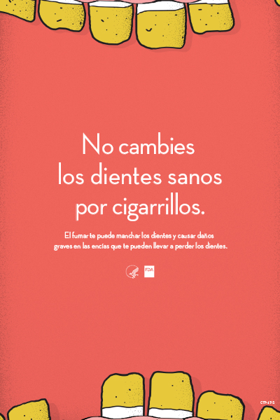 Spanish poster educates on consequences of teeth and gum health from tobacco use.