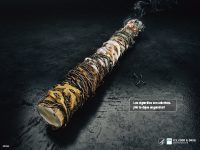 Spanish poster educates on the addictiveness of cigarettes.