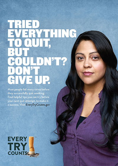 This 5x7 tip card informs adult smokers that it takes multiple tries to quit and provides resources to help them quit.