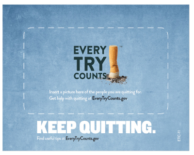 This frame magnet encourages adult smokers to keep trying to quit and holds a 4x6 photo to remind smokers why they are quitting.