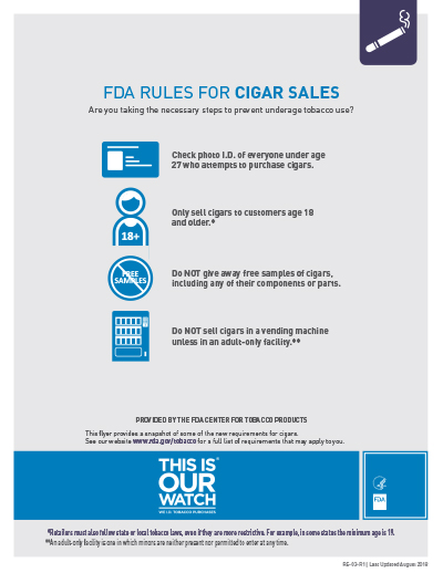 "8.5"" x 11"" flyer on the federal requirements for the sale of cigars.