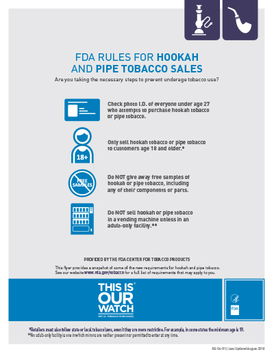"8.5"" x 11"" flyer on the federal requirements for the sale of hookah and pipe tobacco.