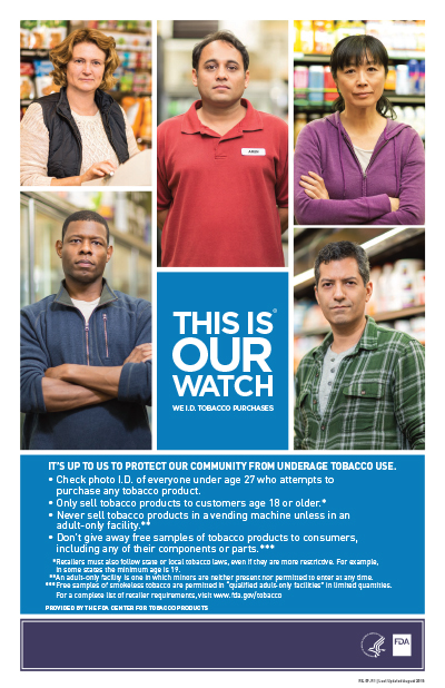 This poster is about selling tobacco in retail establishments.