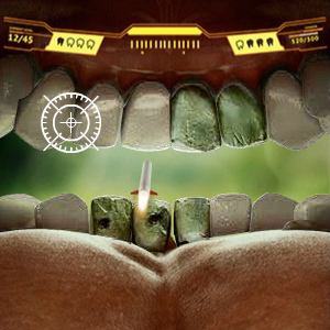The game simulates gum disease and tooth loss caused by smoking cigarettes. Play the game to see how smoking can damage your teeth.